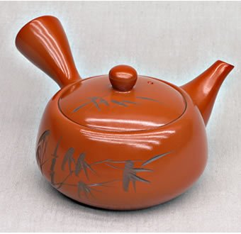 Teekanne mit Bambusgravur rot-braun 380 ml